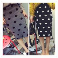 Women Pencil Skirt New Fashion 2015 Vintage Knitted Black White Polka Dots wool Ladies Midi Winter Skirt For Women Female 141107