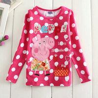 2014 New Design Tops Tess 100% Cotton Girls Peppa Pig T-shirt Children Embroidery Long Sleeve T-Shirts Kids Cartoon Clothing