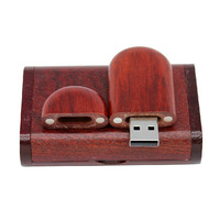 New Red Wooden Style 8GB 16GB 32GB usb + wooden box Memory Stick USB Flash Drive Gift Free shipping & wholesale