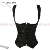 Sexy Lingerie Black Underbust Steel Boned Waist Cincher Gothic Clothing Strapless Waist Training Bustier Top Corset Tight Lacing