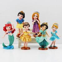 Hot Sale 6pcs/lot Snow White Princess PVC Figures Cinderella Rapunzel Jasmine Thinkbell Bella Ariel Toys Free Shipping