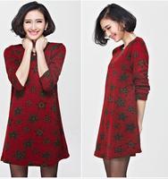 2014 Autumn New Plus Size Dresses Ladies' Slimming Fat Sister Stars Korean Style Dress Women O-neck A-line Regular Dresses