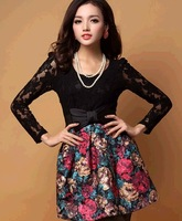 2014 new year OL new small fragrant oil wool lace dress sense spell
