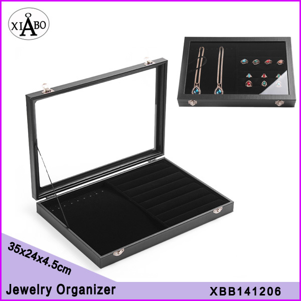 free shipping 1PC 35*24cm double purpose necklaces rings glass cover jewelry display boxes organizers(China (Mainland))