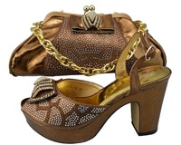 Top selling coffee color Fashion ladies shoes and matching bags for wedding ,High quality African fashion design shoes and bags