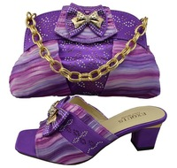 African Fashion Shoes and Matching Bags set for women, wedding dress Shoes and Bags  PURPLE