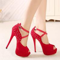 2015 Free shipping Comfortable sexy women pumps Milan Fashion Beautiful Rhinestone high heels Wedding shoes size(35-40)