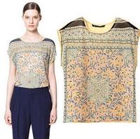 2015 European Style Women Chiffon Shirt Retro Floral O-neck Short Sleeve Summer T-shirts Famous Brand Tops Woman Blouse CL2142