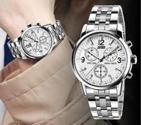 New Fashion Elegant  Men's Top Brand Minimalism leather band and Steeless Steel band Wrist Watch