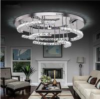 Modern LED k9 crystal chandelier led circular chandelier creative bedroom living room of crystal lamp