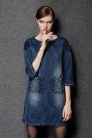 2015 brand higth quality antumn fashion women soild loose three quarter pocket casual dress fashion dress women clothing L-4XL