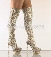 Python lines highland Women Knee high Boots Sexy Zipper long Winter Boots For women