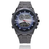 Hot Men LED Analog Digital Watches Men Luxury Brand Military Quartz Watch Relogio Masculino Full Stainless Steel Men Wristwatch