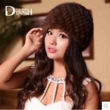 2014 Новый стиль стильная женская подлинная трикотажные норки меховые шапки шапки зима женщины мех шапочки женские головные уборы 30455