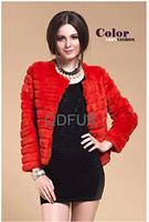 2014 Lady Fashion Genuine Real Sheared Rabbit Fur Jacket Coat  O-Neck Winter Women Fur Outerwear Coats Female Clothing QD80184