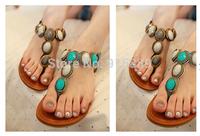 Women's sandals Colored gemstones comfortable casual flat sandals 186