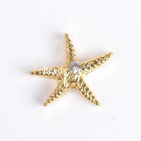 Wholesale Free Shipping 20 Pcs Gold Plated Starfish Rhinestone Origami Owl Floating Charms Fit Living Locket 10mm(W04245)