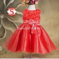Rose Baby Flower Girls Party Dress roupas Vestidos Infantis De Meninas Girl Dance Dresses Bow Vest Summer Costumes Clothes 2T-6T