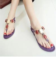WS14 2014 women's summer princess rhinestone shoes gem fashion women's shoes female elastic clip toe flat sandals rhinestones