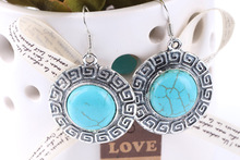 Drop Shipping  Fashion  Vintage  Earrings  Classic  Round Turquoise Earrings Charm  new Jewelry(China (Mainland))