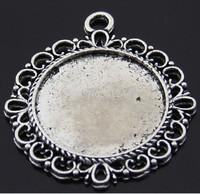 20pcs Antique Silver Round Pendant Trays,Blanks Bezel Setting charm pendant