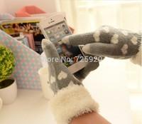 2014 new arrival plush love induction gloves knitted winter mobile phone finger sensor gloves free shipping