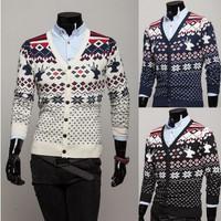 Free Shipping High quality  winter New  men's sweater coat folk style  thickened Argyle deer cardigan knit Size:M-XXL #ZJJ108