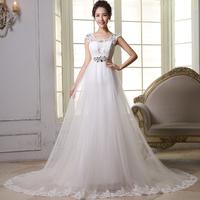 Fashionable a-line wedding dresses 2014 featuring tulle court train on vestido de casamento ztc16