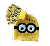 2014 Children's Hat Minion rochet pattern - despicable me Children Dave cartoon winter knitted hat gloves Baby Beanie Hootbel