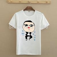 Women Fashion Short T Shirts PSY Gangnam Style Dance Design Tshirts Lady Fitness Novelty T-shirts Cotton Top Tees