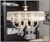 Vintage French Crystal Chandelier Crystal Light Fixture Cottage American White Suspension Lamp hanging Light