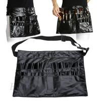 2015 Black Professional Artist Travel Essential Makeup Brush Belt Pocket Bag Cosmetic Case Bag Makeup Purse sv18 SV011165