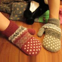 Gloves ladies lovely thick warm winter wool men's couple wool Korean mittens postage