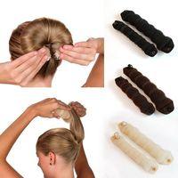 New Fashion 2pcs Sponge Hair Styling A2 Donut Bun Maker Chrismas  Magic easy using Former Ring Shaper Styler Tool 3 colors