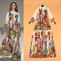 New Arrival 2015 Spring Summer Women's Turn Down Collar Long Sleeves Vintage Printed Elegant A Line Runway Dresses