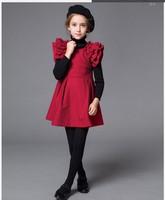 New 2015 Kid  Europe Ruffle Sleeve Princess Dress Temperament Girl Woolen Party Dress Winter  Boutique Clothing 3908
