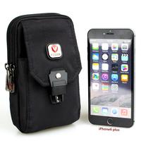 Black Nylon Waist Bag for Men Fanny Pack Casual Waist Pack Money Belt Bag Bum Bag Mobile Phone Pouch Fit for iPhone 6 Plus