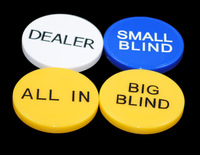 big blind small blind and dealer and all in  0.6cm thick free shipping high quality  Set of 4pic