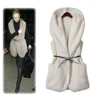 2015 Fashion vest women Hoodie Faux Lamb Fur Long Vest Jacket Coat