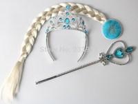 3PCS/Set Frozen Crown Princess Elsa & Anna Frozen Crown Girls Hair Accessories Brand Tiara Cosplay Crown + Wig +Magic Wand