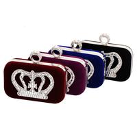 Hot Korean fashion diamond crown suede clutch evening bag lady banquet party phone pouch 4 color Wholesale