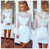 vestidos de renda feminino vestido branco renda 2014 woman dress party white lace bodycon dress long sleeve sexy casual dress