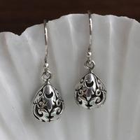 Handmade 925 pure silver earrings long design elegant small fresh vintage drop earring