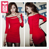 Drop ship!new 2015 brand slash neck off the shoulder sexy Nightclub dress Strapless elastic three quarter sleeve dress