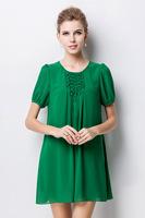 2015brand new summer Elegant women soild color short sleeve O neck chiffon casual dress work dress women clothing 2color 2XL-4XL