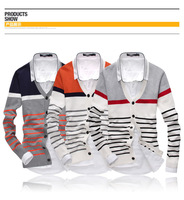 Cultivate One's Morality Stripes Men Cardigan Sweater Full Sleeve Cotton Male Spring Winter Knit Outfit