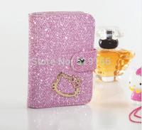 Free Shipping Newest 24PCS Women's Cute Kitty Diamond Card Holder Fashion Cartoon Card Bag Girl's Glitter Powder Card Case