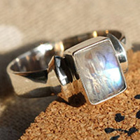 Natural moonstone cabochon blu ray ring finger ring 925 thai silver new arrival