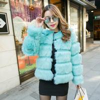 2015New Fashion water blue artificial faux fur coat short design outerwear fur overcoat women jacket good quality casaco de pele