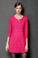 2015 plus size L-4XL spring antumn Elegant women new fashion printing three quarter sleeve O neck casual dress work dress 2color